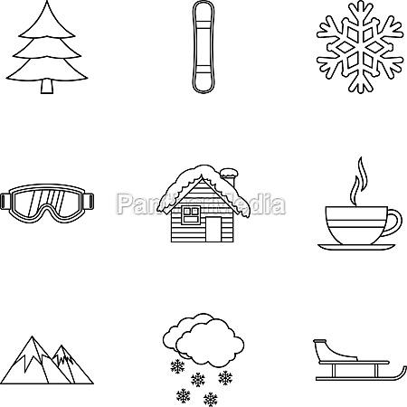 season winter icons set outline style