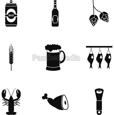 pub icons set simple style