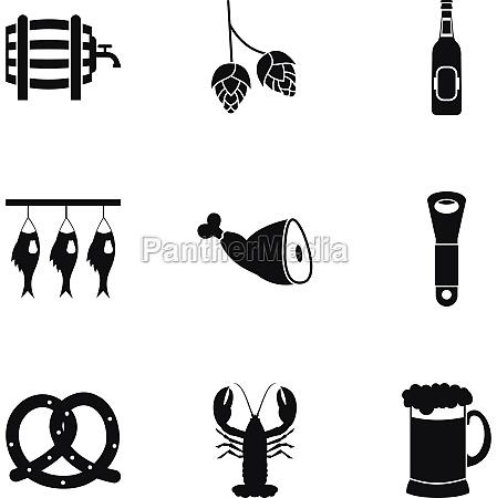 alcoholic beverage icons set simple style