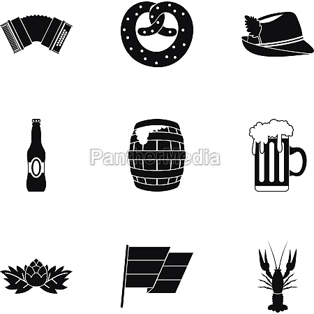 oktoberfest icons set simple style