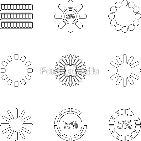 sign download icons set outline style