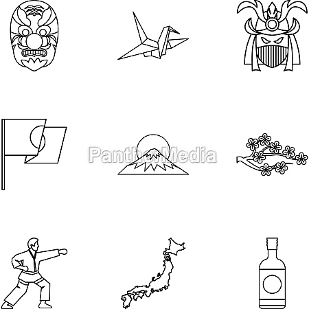 attractions of japan icons set outline
