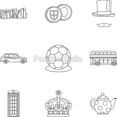 country united kingdom icons set outline