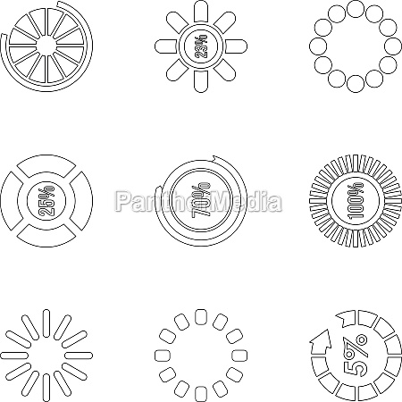 download page icons set outline style