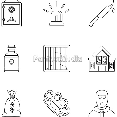 illegal action icons set outline style