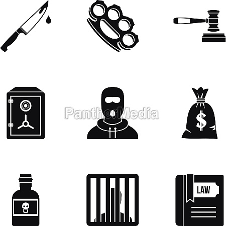 illegal action icons set simple style
