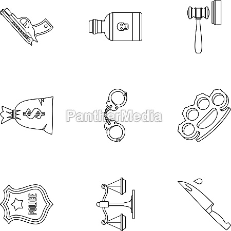 crime icons set outline style