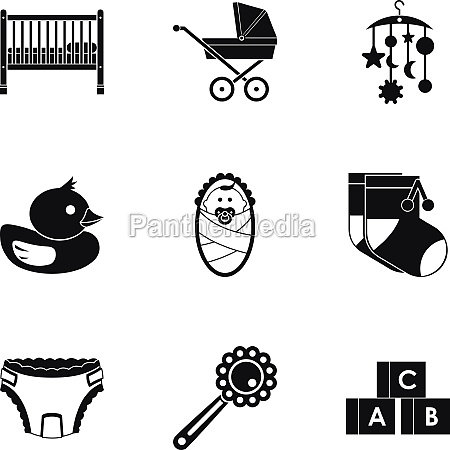 baby supplies icons set simple style