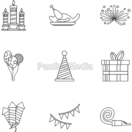 holiday icons set outline style
