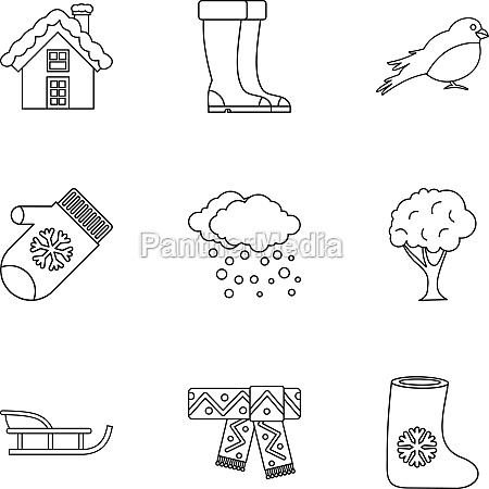 winter holidays icons set outline style