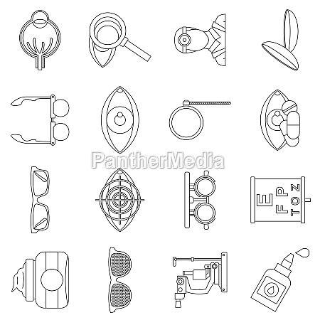 ophthalmologist tools icons set outline style