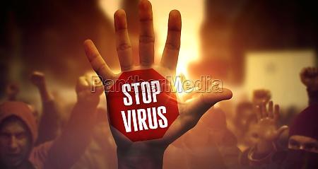 stop virus crowd of diverse