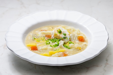 cauliflower soup with carrot potatoes and