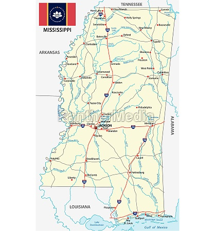 mississippi road map with new flag