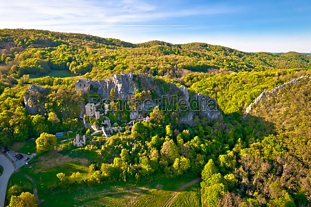kalnik mountain and fortress ruins aerial
