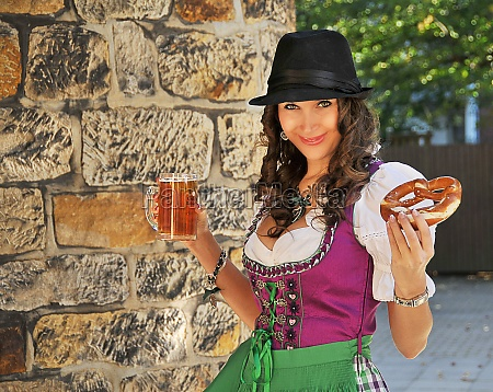 pretty bavarian girl with dirndle