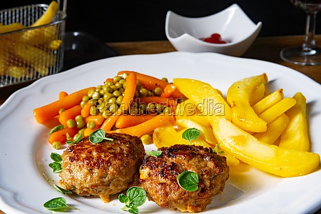 homemade meatballs with french fries and