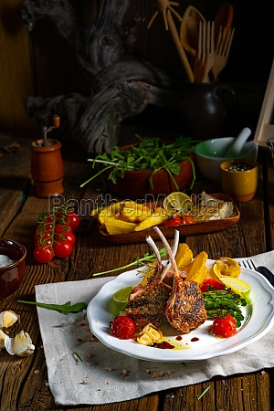 lamb chops marinated in herbs with