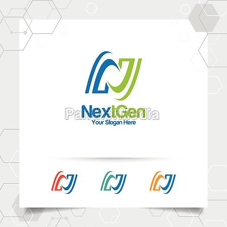 business finance letter n logo design