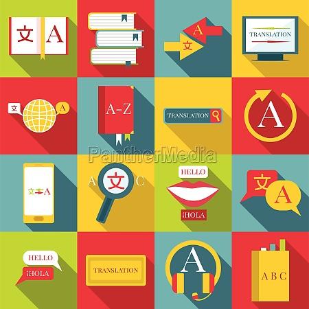 translator profession icons set flat style