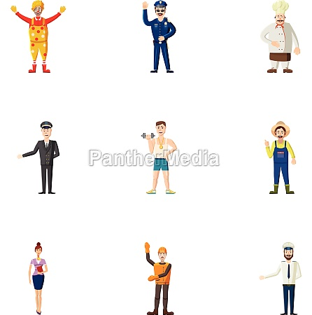 occupation icons set cartoon style