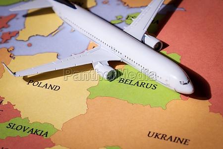 passenger airplane over belarus territory