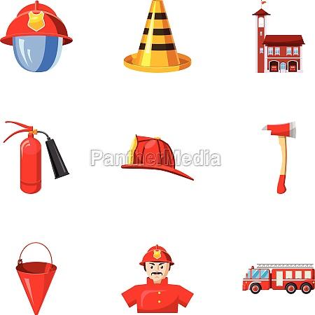 fiery profession icons set cartoon style