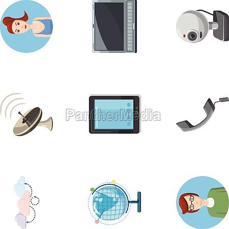 online consultation icons set cartoon style