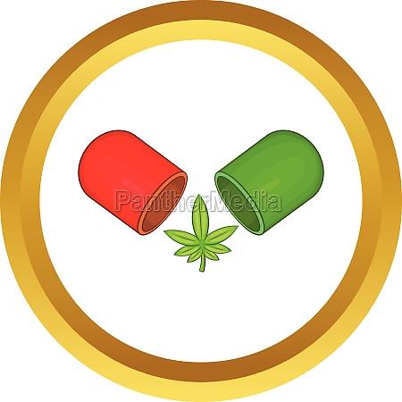 marijuana capsule pill vector icon