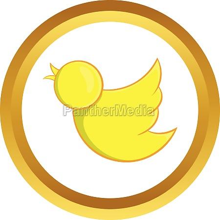 yellow bird vector icon