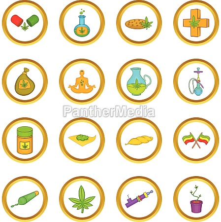 medical marijuana vector set cartoon style