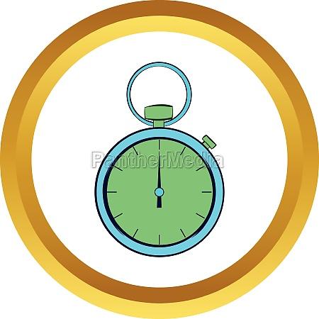 pocket watch vector icon cartoon style