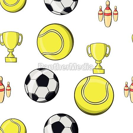 sports accessories pattern cartoon style