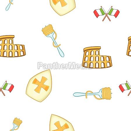 symbols of italy pattern cartoon style