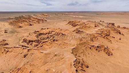 aerial view of the gobi desert