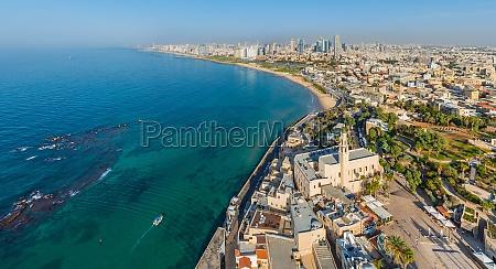 aerial view of tel aviv yafo