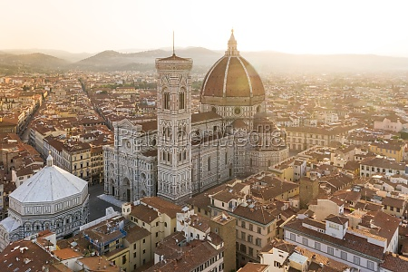 aerial view of florence cathedral during