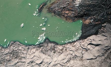 aerial view of a glacier lake