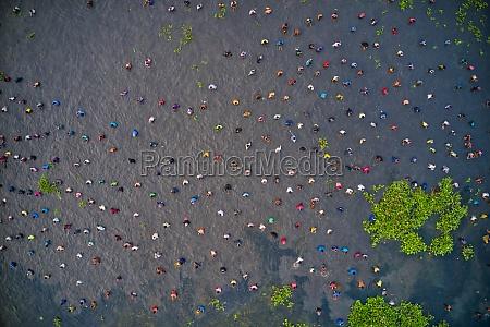 aerial view of people fishing in