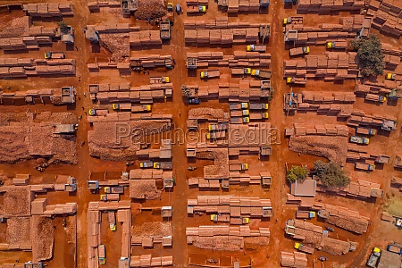 aerial view of a brick factory