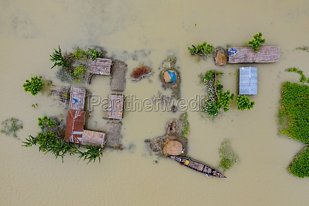 aerial view of a few wooden