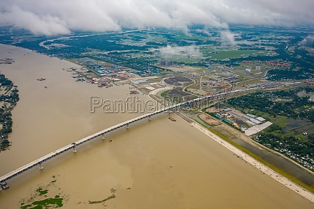 aerial view of padma bridge crossing