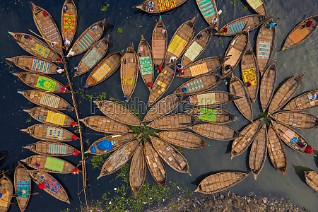 aerial view of hundreds of wooden