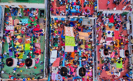aerial view of thousands of people
