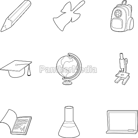 school icons set outline style