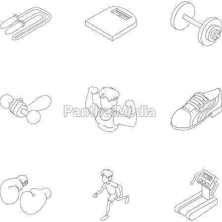 active sports icons set outline style