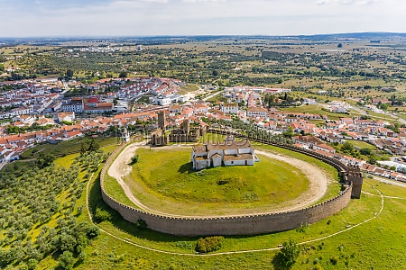 aerial view of the circular castle