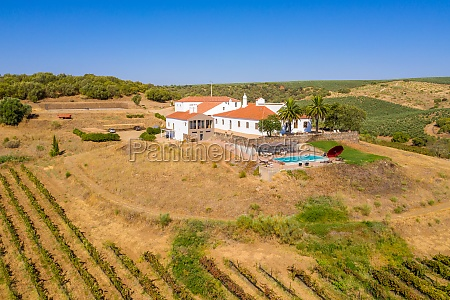 aerial view of beautiful villa estate