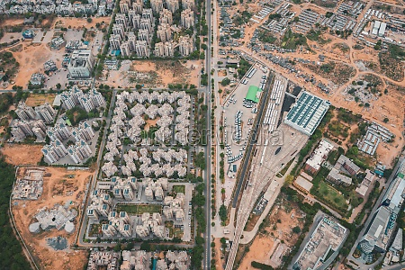aerial view of gurugram district with