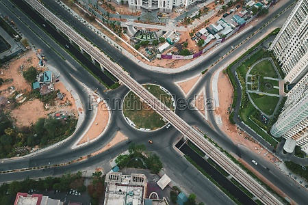 aerial view of an empty roundabout